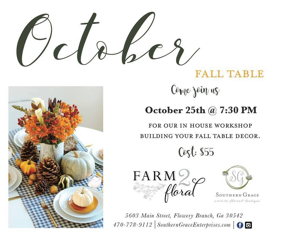 fall table workshops florist Southern grace flowery branch north georgia